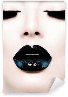 Fototapet av Vinyl Mode skönhet modell flicka med svart smink och Långa lushes