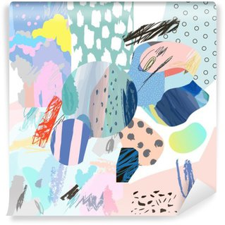 Fototapet av Vinyl Moderiktiga kreativa collage med olika texturer och former. Modern grafisk design. Ovanligt konstverk. Vektor. Isolerat