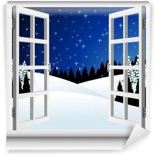 Fototapet av Vinyl Paesaggio Neve alla Finestra-Winter Snow landskap Fönster