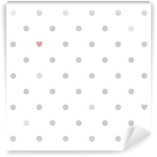 Fototapet av Vinyl Polka dots med hjärtan sömlösa mönster - vit och grå.