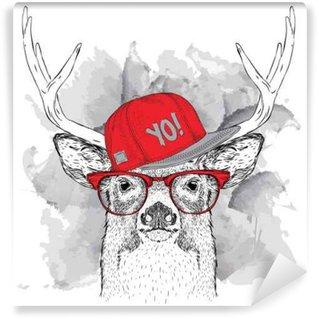 Fototapet av Vinyl Porträtt av hjort med glasögon, hörlurar och hip-hop hatt. Vektor illustration.