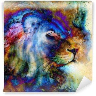 Fototapet av Vinyl Regnbåge lejon på vackra färgglada bakgrunden med inslag av rymdkänsla, lejon profil porträtt.