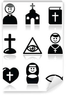 Fototapet av Vinyl Religion, katolska kyrkan vektor ikoner set