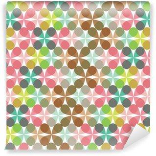 Fototapet av Vinyl Retro kul pastell blomma klöver mönster