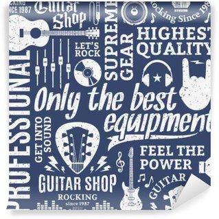 Fototapet av Vinyl Retro stil typografisk vektor gitarr butik seamless