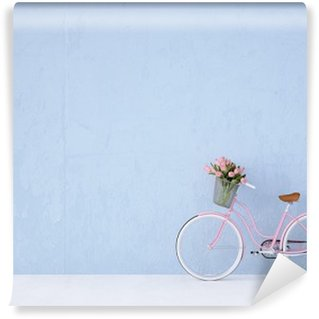 Fototapet av Vinyl Retro tappning cykel gammal och blå vägg. 3D-rendering