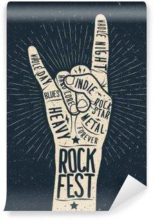 Fototapet av Vinyl Rockfestival affisch, flygblad. Vektor handen rita stil illustration.