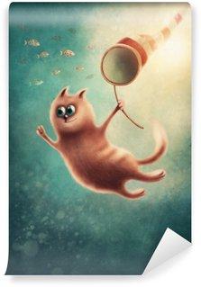 Fototapet av Vinyl Röd katt fånga fiskar