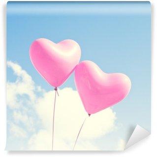 Fototapet av Vinyl Rosa hjärta ballonger