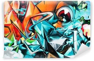 Fototapet av Vinyl Sammanfattning Graffiti detalj på texturerade väggen