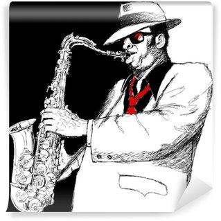 Fototapet av Vinyl Saxofonspelare
