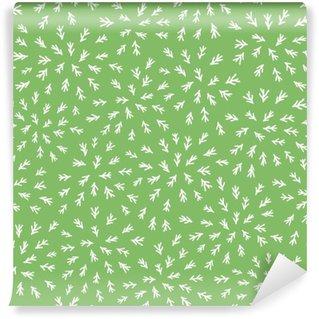 Fototapet av Vinyl Seamless abstrakt bladstjälken mönster på grön bakgrund