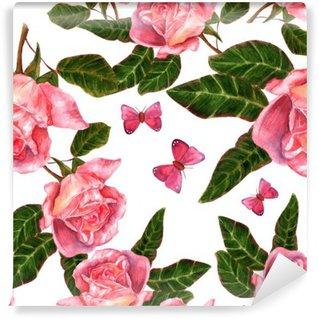 Fototapet av Vinyl Seamless bakgrundsmönster med tappning utformar vattenfärg rosor