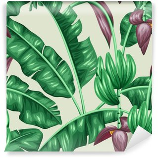 Fototapet av Vinyl Seamless bananblad. Dekorativ bild av tropiska bladverk, blommor och frukter. Bakgrund göras utan urklippsmask. Lätt att använda för bakgrund, textil, omslagspapper