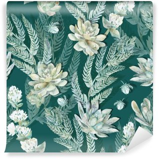 Fototapet av Vinyl Seamless blom- modell. Suckulenter, ormbunkar, taggar.