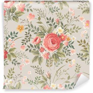 Fototapet av Vinyl Seamless blommiga mönster med rosor