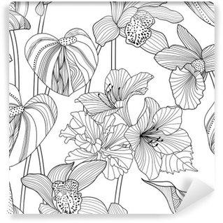 Fototapet av Vinyl Seamless blommiga mönster