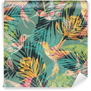 Fototapet av Vinyl Seamless exotiskt mönster med abstrakta palmblad och colibri.