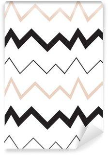 Fototapet av Vinyl Seamless geometriskt mönster. Minimalistisk modern stil. Abstrakt berg. Sicksack. Det är svart vit och naken färger.