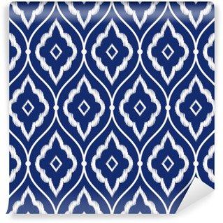 Fototapet av Vinyl Seamless indigo blå och vit tappning persiska ikat mönster