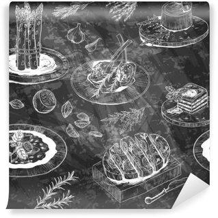 Fototapet av Vinyl Seamless Meny mönster med restaurang måltid, örter och kryddor. Bl