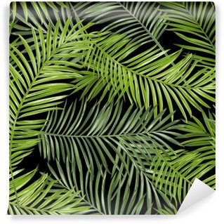 Fototapet av Vinyl Seamless mönster. Tropical Palm lämnar bakgrund. Vector bakgrund