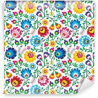 Fototapet av Vinyl Seamless Polish folk art floral pattern