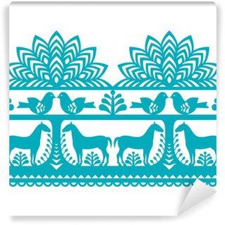Fototapet av Vinyl Seamless polska folkkonst mönster Wycinanki Kurpiowskie - Kurpie Papercuts