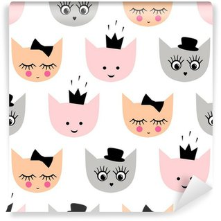 Fototapet av Vinyl Seamless roliga flick katter med hatt, krona, båge för barn semester på vit bakgrund. Gullig tecknad kitty vektor bakgrund illustration.