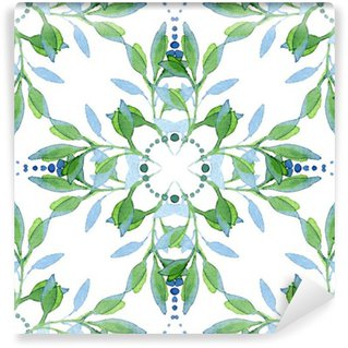 Fototapet av Vinyl Seamless vattenfärg blommiga mönster
