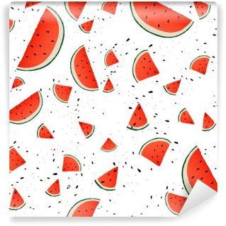 Fototapet av Vinyl Seamless vattenmelon skivor. Vektor sommar bakgrund med räcker utdragna skivor av vattenmelon. Vektor.