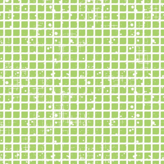 Fototapet av Vinyl Seamless vektor rutmönster. Creative geometrisk grön bakgrund med rutor. Grunge konsistens med avgång, sprickor och ambrosia. Gammal stil vintagedesign. Grafisk illustration. - Grafiska resurser