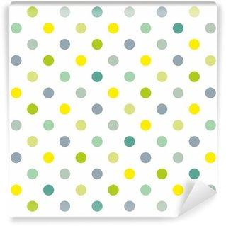 Fototapet av Vinyl Seamless vektor våren mönster blåttpolka dots vit bakgrund
