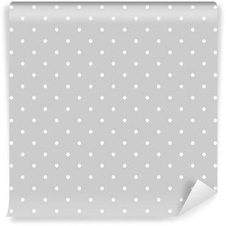 Fototapet av Vinyl Seamless vit och grå vektor mönster eller kakel bakgrund med prickar