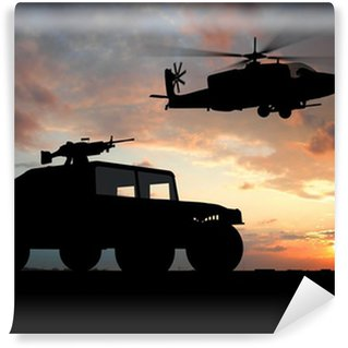 Fototapet av Vinyl Silhuett av truck över solnedgången med helikopter.