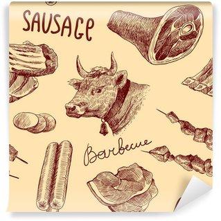 Fototapet av Vinyl Skiss kött sömlösa