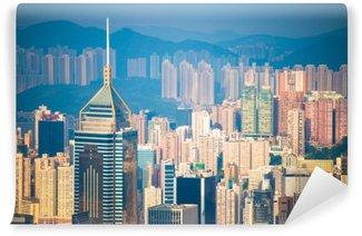 Fototapet av Vinyl Skyskrapa utsikten från Peak Tower, landmärke i Hong Kong