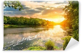 Fototapet av Vinyl Solnedgång över floden i skogen