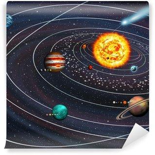 Fototapet av Vinyl Solsystemet: 9 planeter med månar om sina banor och Comet.