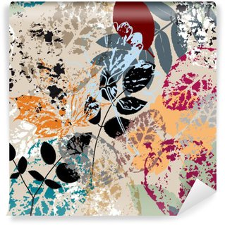 Fototapet av Vinyl Sömlös bakgrund mönster, med löv, stroke och stänk
