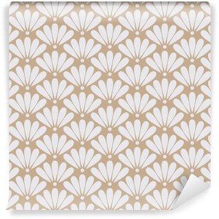Sømløs beige orientalsk blomstermønster vektor Vinyl Fototapet