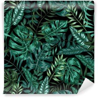 Fototapet av Vinyl Sömlös grafisk konstnärlig tropisk natur djungel mönster, modernt elegant bladverk bakgrund allover ut med split blad, philodendron, palmblad, fernormbunksblad