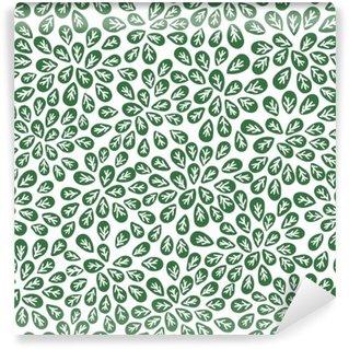 Fototapet av Vinyl Sömlösa abstrakt gröna blad mönster, lövverk vektor