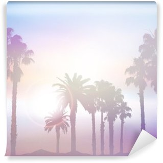 Fototapet av Vinyl Sommar palm landskap med retro effekt
