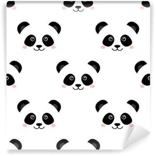 Fototapet av Vinyl Söt panda ansikte. Seamless wallpaper