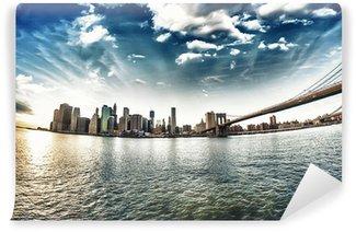 Fototapet av Vinyl Spektakulär utsikt över Brooklyn Bridge från Brooklyn stranden vid winte