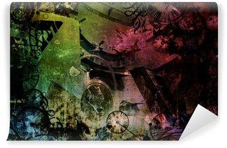 Fototapet av Vinyl Steampunk abstrakt färgrik industrimaskiner bakgrund