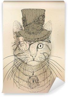 Fototapet av Vinyl Steampunk Cat Vintage Style