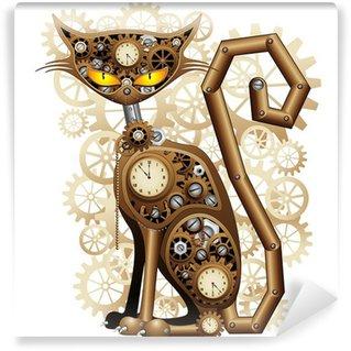 Fototapet av Vinyl Steampunk kattvintage Style-Cat Mechanic Surreal