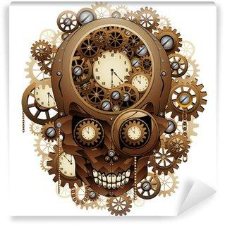 Fototapet av Vinyl Steampunk Skull Vintage Style-Teschio Meccanismo Orologio